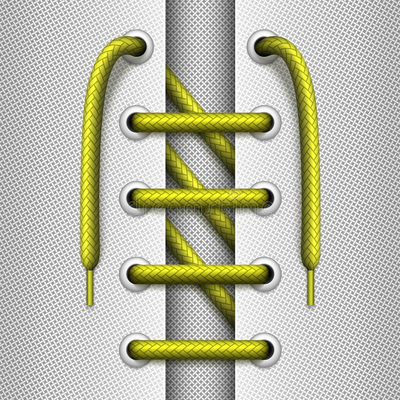 Vector Sawtooth tying of shoelaces with elements of a shoe. Lacing with elements of a shoe or garment. Sawtooth tying of shoelaces. Vector realistic illustration royalty free illustration