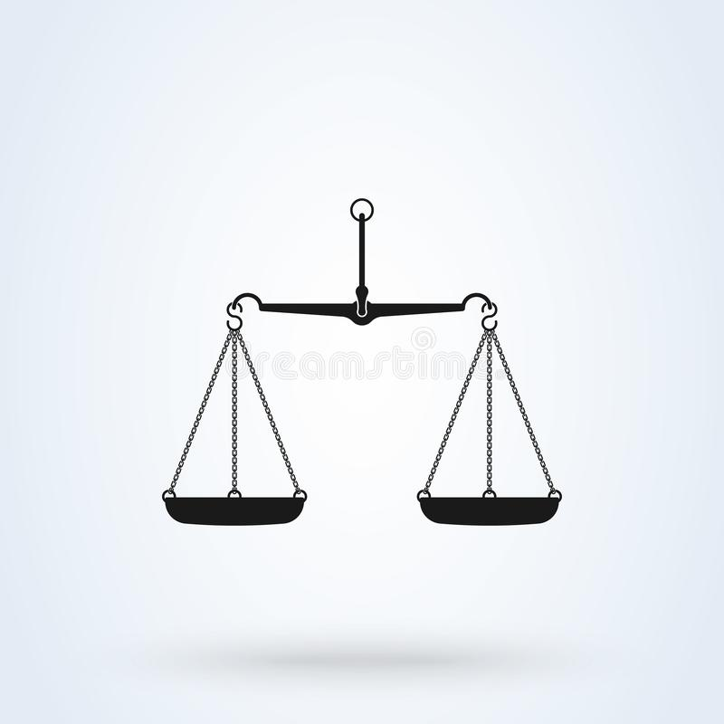 Vector scales Icon, isolated on white bacground. Scales of Justice stock illustration
