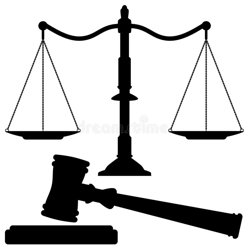 vector scales of justice and gavel stock illustration