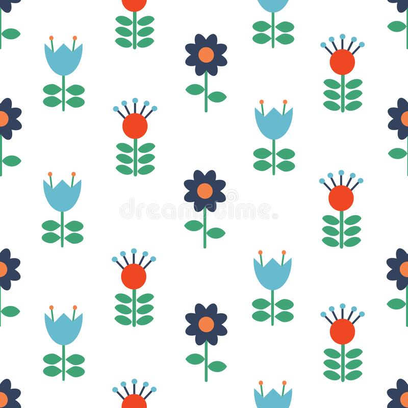 Vector Scandinavian folk art seamless pattern background, floral navy blue repetitive design, Nordic ornament with. Flowers.Retro style decoration, Scandi stock illustration