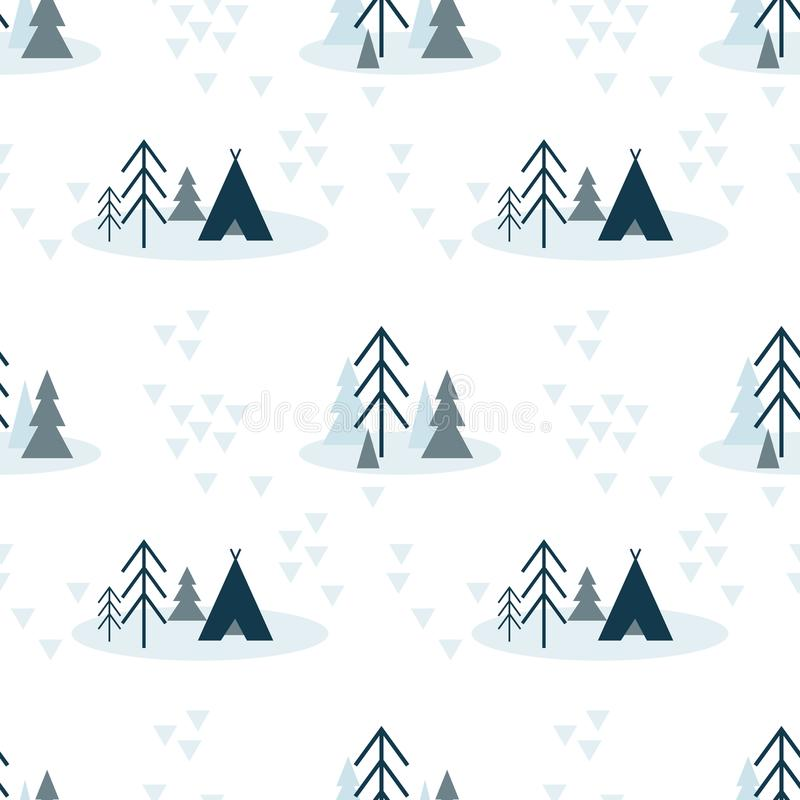Vector scandinavian seamless pattern of blue colours with fir, pine trees and tent on white background vector illustration