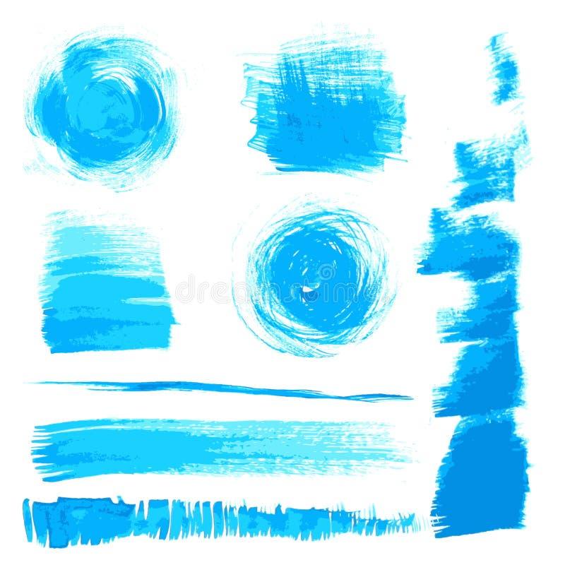 Download Vector Schöne Handgemachte Blaue Anschläge Vektor Abbildung - Illustration von malerpinsel, auslegung: 27728279