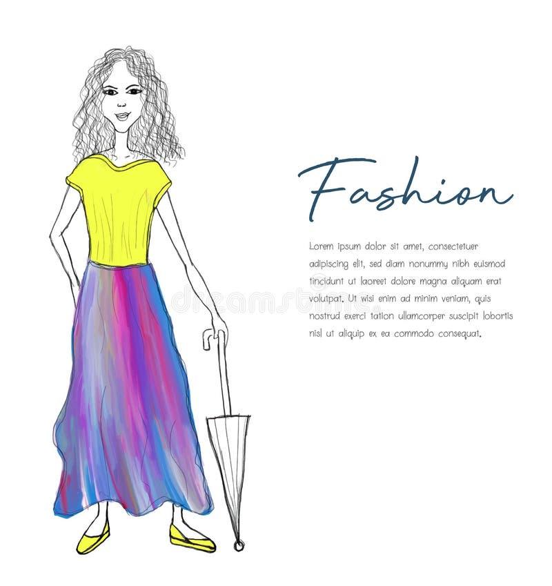 Vector schöne Modehipster-Mädchen mit einem Regenschirm, Cartoon-Vektor lizenzfreie abbildung