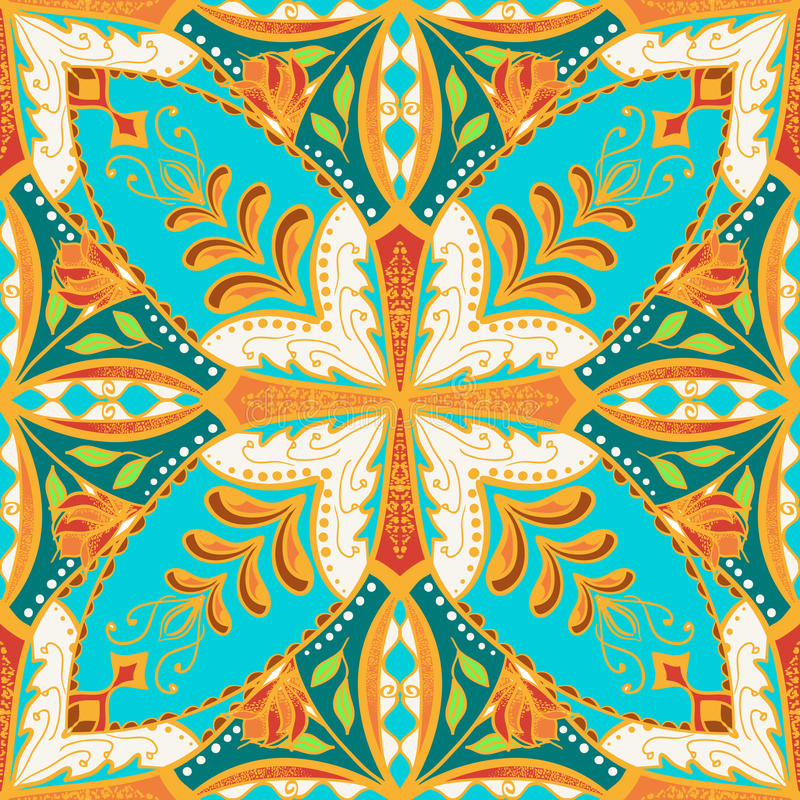 Vector schönes farbiges Muster für Design und Mode mit dekorativen Elementen Ethnischer Mit Blumenbandana lizenzfreie abbildung
