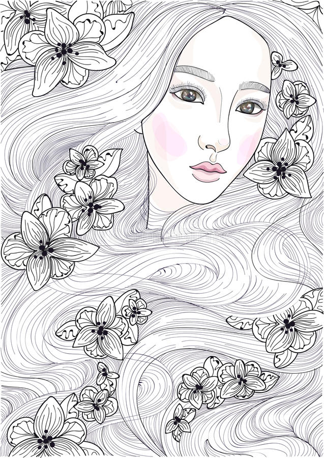 Vector schönes Mädchen mit dem langen Haar der Wunder und den schwarzen Orchideen vektor abbildung