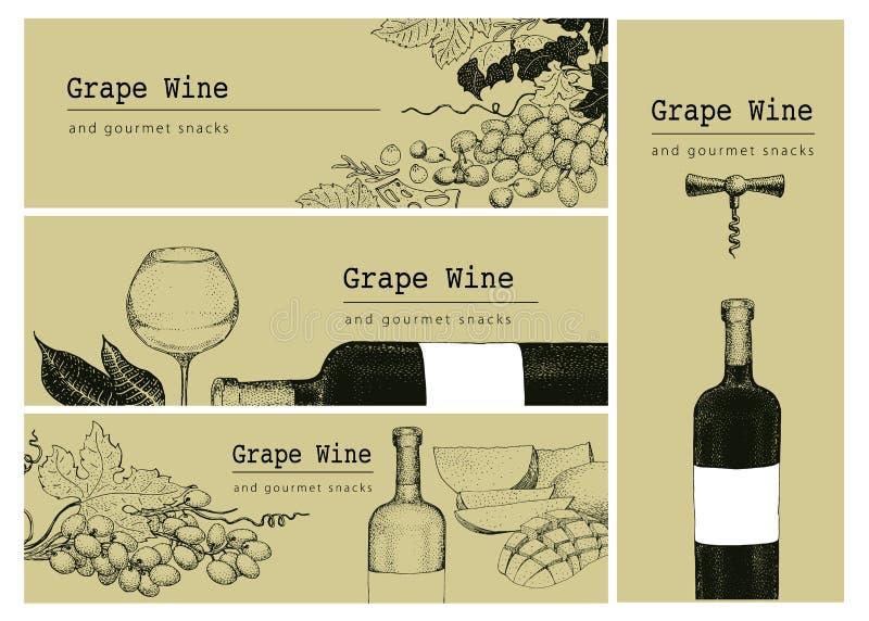 Vector Schablone der Karte, Aufkleber- oder Fahnenhintergrund mit Hand gezeichneten Illustrationen Traube, Wein bottlle und Glas  stock abbildung