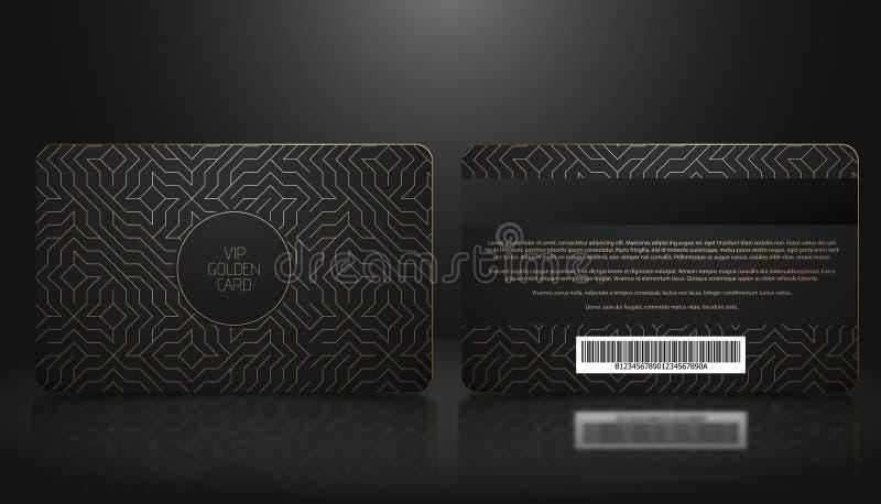 Vector Schablone Mitgliedschaft oder Loyalität der schwarzen Promi-Karte mit goldenem geometrischem Luxusmuster Front- und Rückse stock abbildung