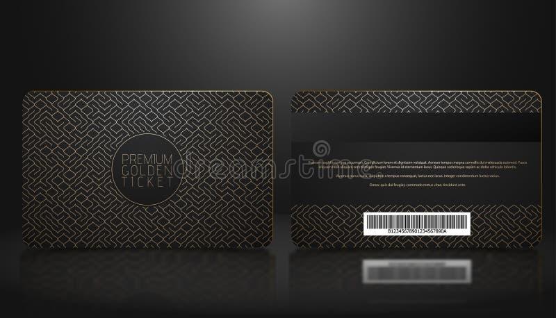 Vector Schablone Mitgliedschaft oder Loyalität der schwarzen Promi-Karte mit goldenem geometrischem Luxusmuster Front- und Rückse lizenzfreie abbildung