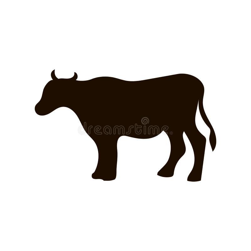 Vector Schattenbild der Kuh, verschiedene Haltungen, die schwarze Farbe, lokalisiert auf weißem Hintergrund lizenzfreie abbildung