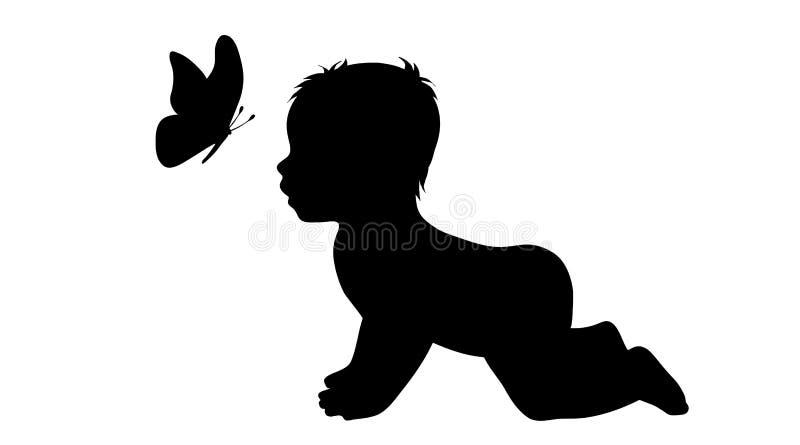 Vector Schattenbild des Babyschmetterlinges auf weißem Hintergrund lizenzfreie abbildung
