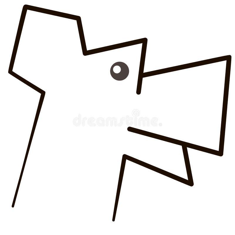 Vector Schattenbild des Hundes auf weißem Hintergrund stockfotos