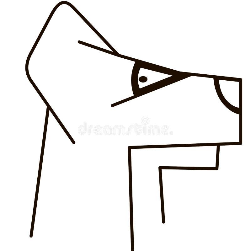 Vector Schattenbild des Hundes auf weißem Hintergrund stockfoto