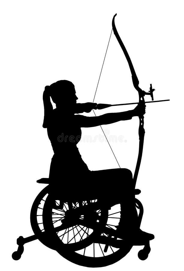 Vector Schattenbild einer behinderten Frau in einem Rollstuhl, der an Sportbogenschießen teilnimmt vektor abbildung