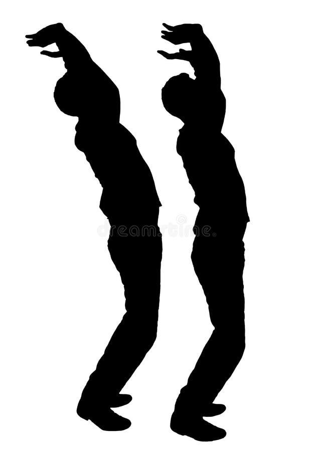 Vector Schattenbild von zwei Männern im Profil mit ihren Händen, die oben versuchen, etwas vom Fallen zu halten stock abbildung