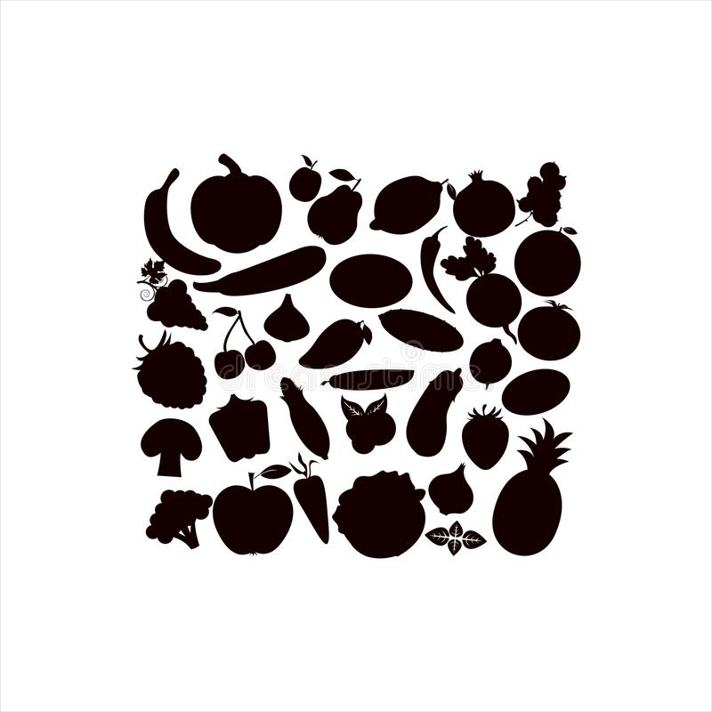 Vector Schattenbilder des Fruchtgemüses, Beeren auf einem weißen Hintergrund stock abbildung