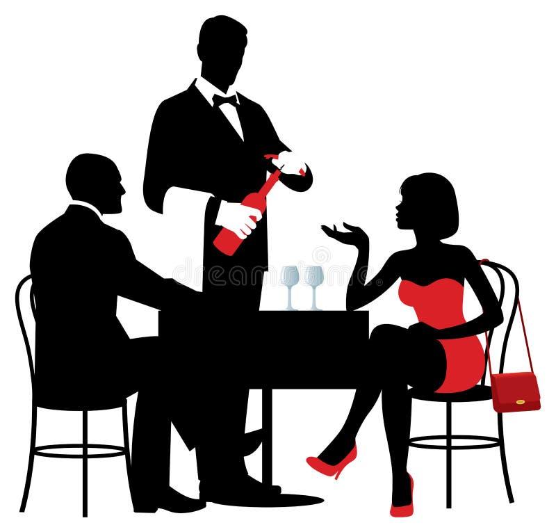 Vector Schattenbilder von den Leuten, die am Tisch des restaur sitzen lizenzfreie abbildung