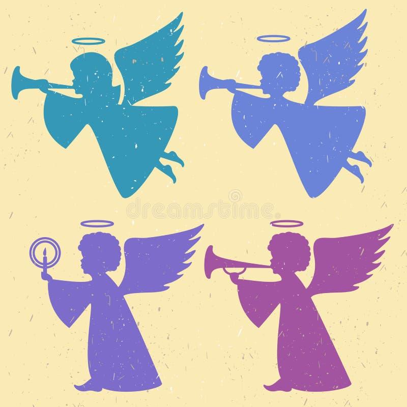 Vector Schattenbilder von Engeln auf einem hellen Hintergrund stock abbildung
