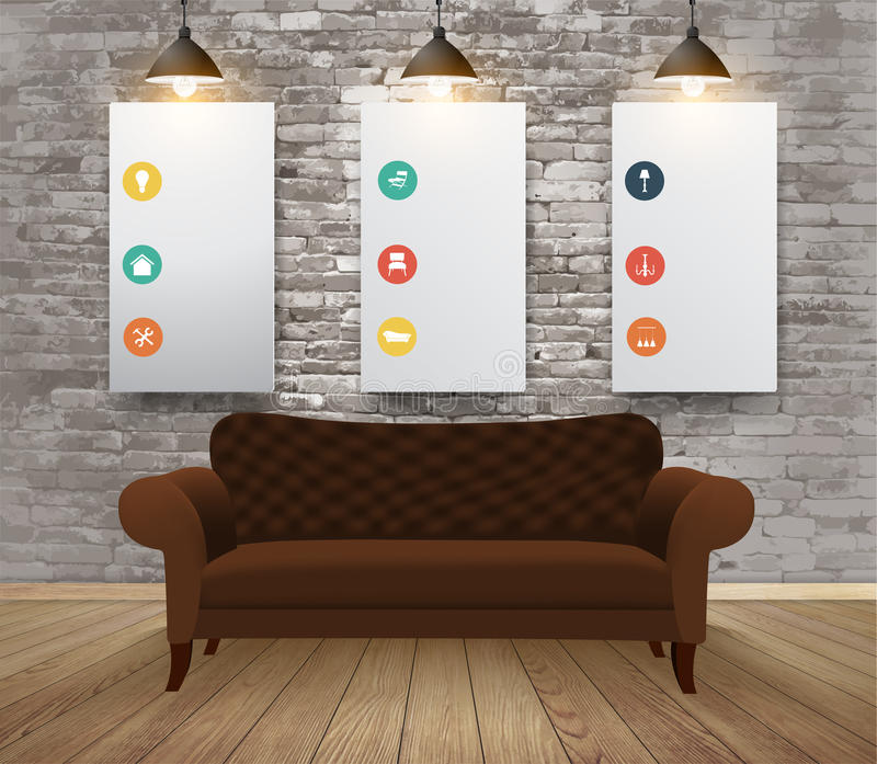 Vector scheinbares hohes Plakat mit Weinlesehippie-Dachbodeninnenraumhintergrund lizenzfreie abbildung