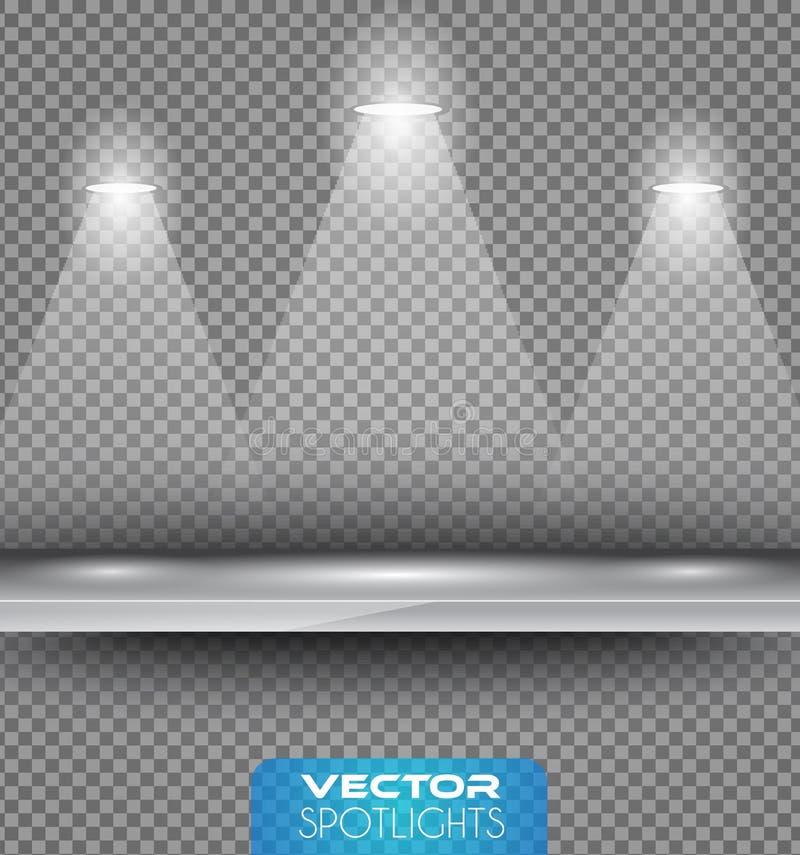 Vector Scheinwerferszene mit unterschiedlicher Lichtquelle zeigend auf den Boden oder das Regal lizenzfreie abbildung