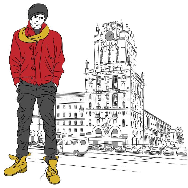 Vector schets van een modieuze kerel in het stad-centrum vector illustratie
