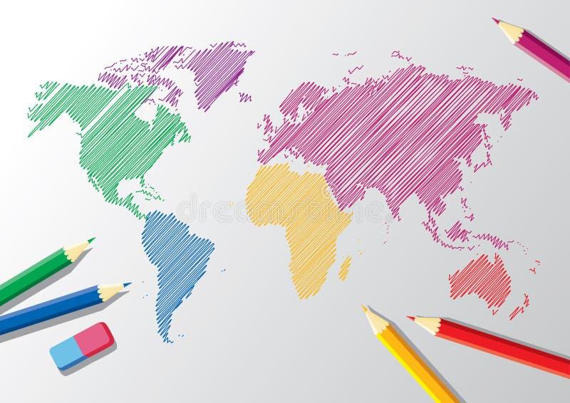 Vector Schets van een wereldkaart vector illustratie
