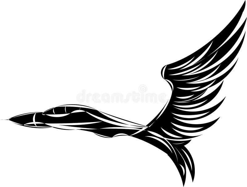 Vector schets van straalvechter met adelaarsvleugels. stock illustratie