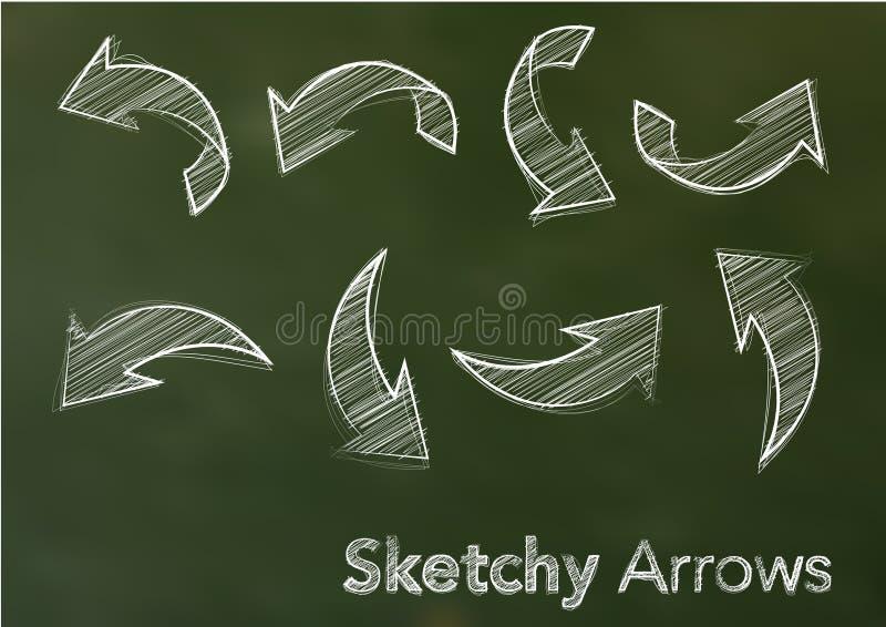 Vector schetsmatige pijlen stock illustratie