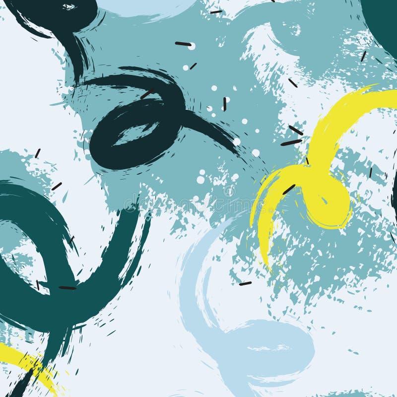 Vector Schmutzpastellflecken in den blauen gelben Farben Gewelltes dynamisches minimalistic Muster Natürlicher abstrakter Bürsten stock abbildung