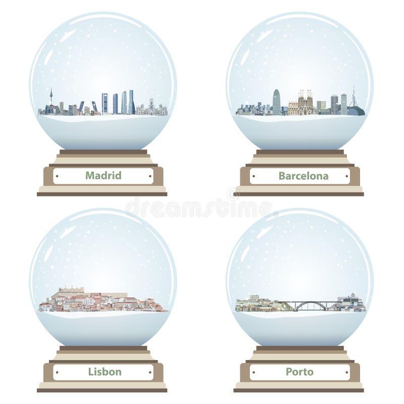 Vector Schneekugeln mit Madrids, Barcelonas, Lissabons und Porto abstrakten Stadtskylinen nach innen stock abbildung