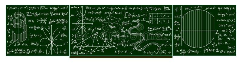 Vector school blackboard with handwritten mathematical calculations, plots, formulas. Mathematical educational background stock illustration