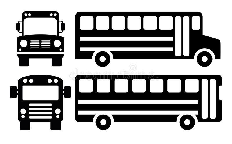 Vector school bus icons royalty free stock image