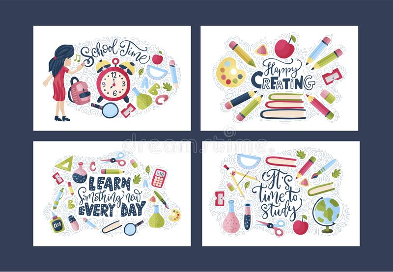 Vector school card set stock images