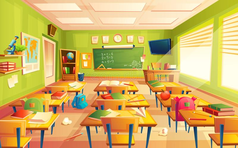 Vector school classroom interior, math training room. Educational concept, blackboard, table college furniture. Vector classroom interior. Educational concept stock illustration