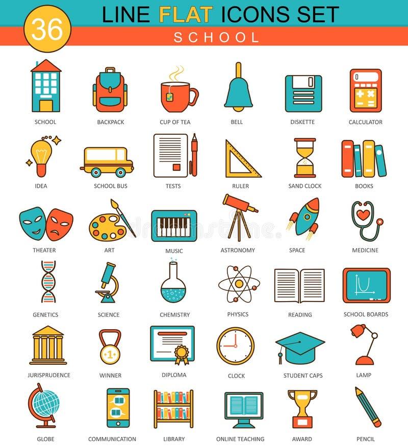 Vector School flat line icon set. Modern elegant style design for web. stock illustration