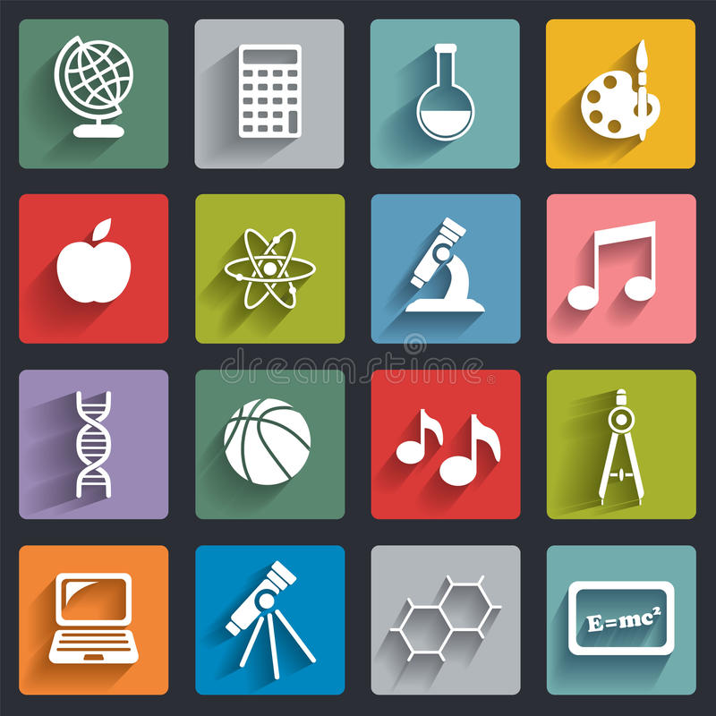 Vector School icons set with shadows royalty free illustration