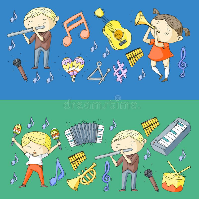 Vector school of music Musical theatre Kindergarten children with music instruments Drum, flute, accordion, trumpet vector illustration