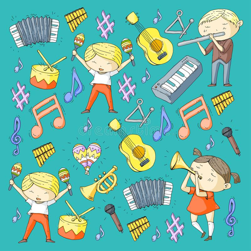 Vector school of music Musical theatre Kindergarten children with music instruments Drum, flute, accordion, trumpet. School of music Musical theatre Kindergarten stock illustration