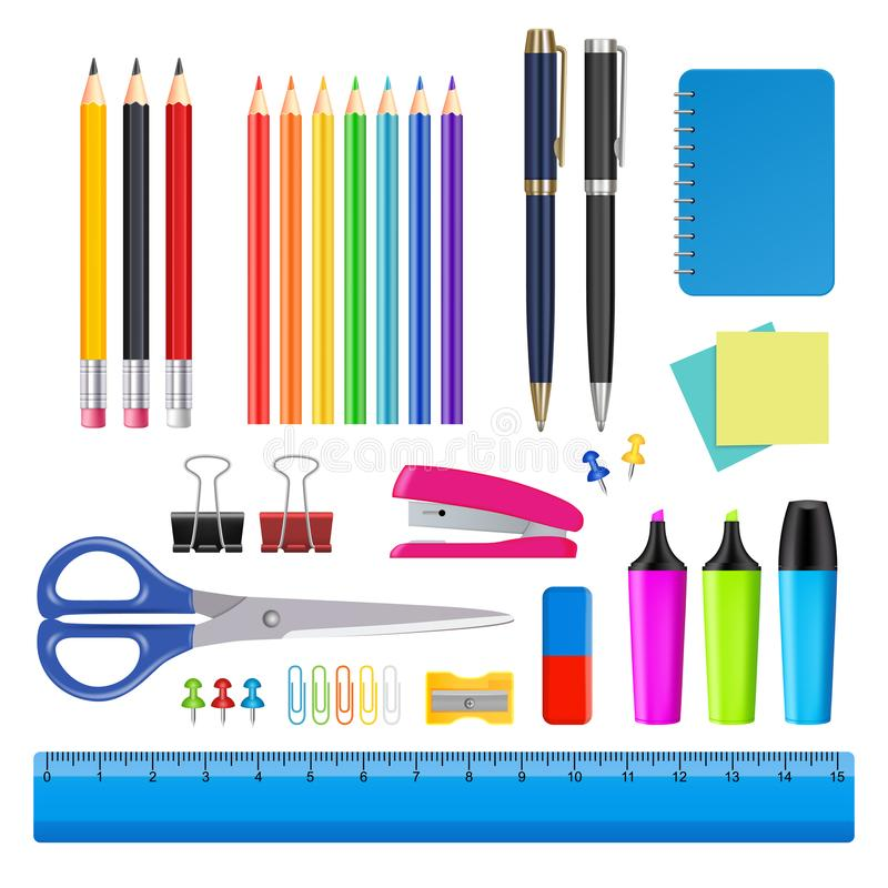 Vector school and office supplies icon set royalty free illustration