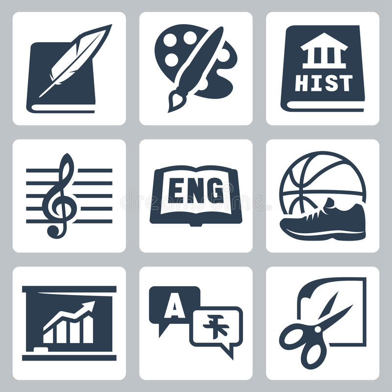 Vector school subjects icons set: literature, art, history, music, english, PE, economics, foreign languages, crafts royalty free illustration