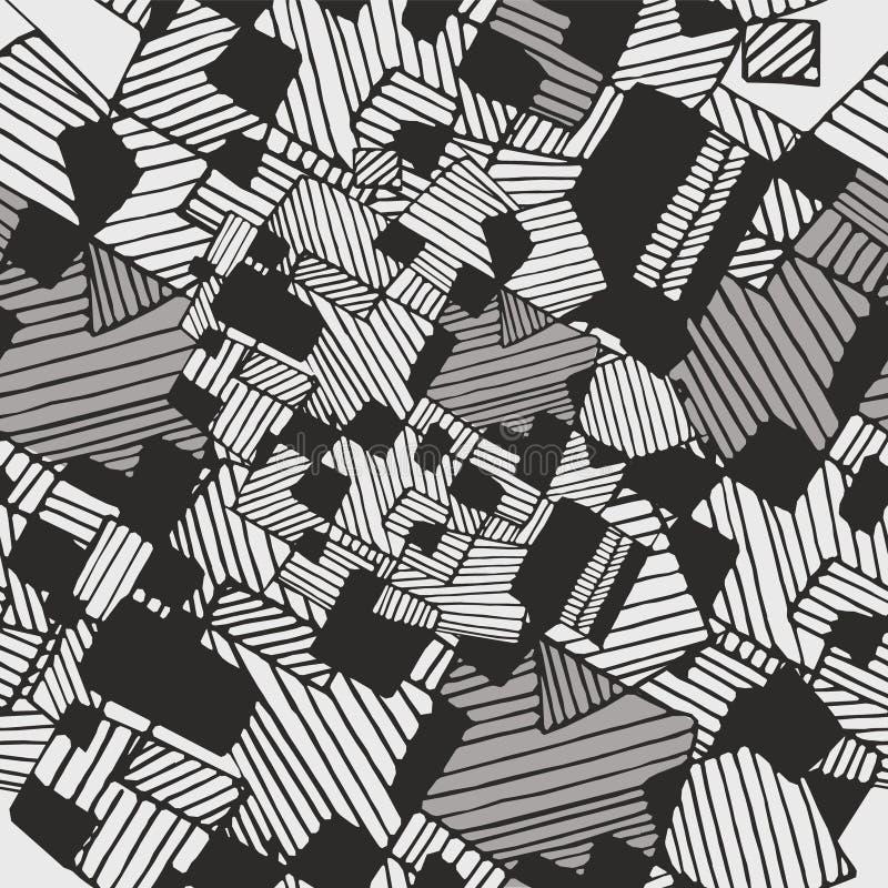 Vector schwarze des nahtlosen abstrakten geometrischen Musters, weiße Pastellfarben lizenzfreies stockbild