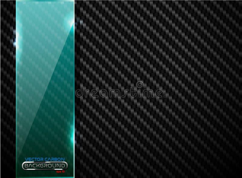 Vector schwarzen Kohlenstofffaserhintergrund mit vertikaler grüner transparenter Glasplattenfahne Industrielle elegante Designill lizenzfreie abbildung