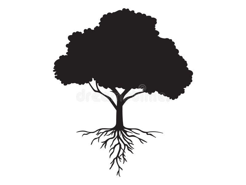 Vector schwarzes Formschattenbild eines Baums mit Wurzeln stock abbildung