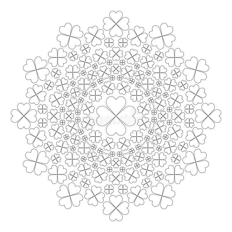 Vector Schwarzweiss-Frühlingsmandala mit vier Kleeblättern - erwachsene Malbuchseite stock abbildung
