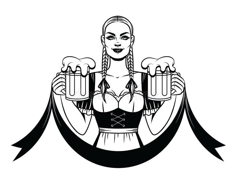 Vector Schwarzweiss-Linie Kunstillustration einer hübschen Kellnerin mit einem Becher Bier lizenzfreie abbildung