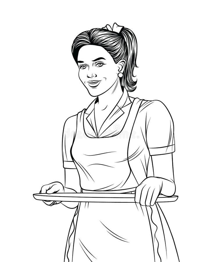 Vector Schwarzweiss-Linie Kunstillustration einer schönen Kellnerin mit einem Behälterlebensmittel lizenzfreie abbildung