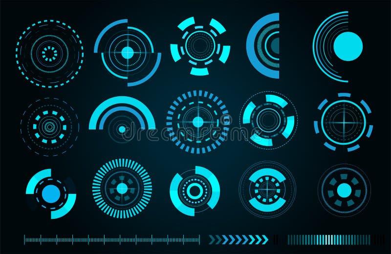 Vector sci fi futuristic user interface. Sci fi futuristic user interface. Vector illustration royalty free illustration