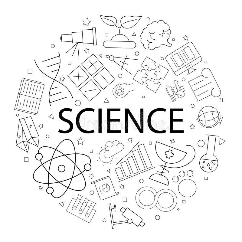 Vector Science pattern with word. Science background. Vector illustration vector illustration