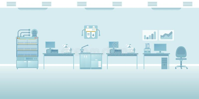 Vector scientific laboratory interior empty scene in flat style royalty free illustration