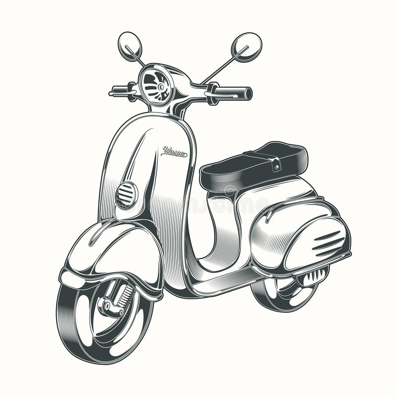 Vector scooter, moped drawn in black ink. Vector black and white illustration in the style of engraving - scooter, moped drawn in ink vector illustration