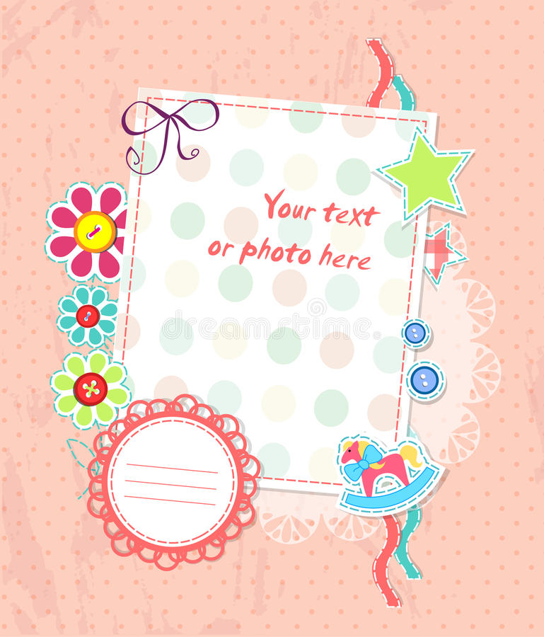 Vector scrapbooking card for baby with text stock illustration